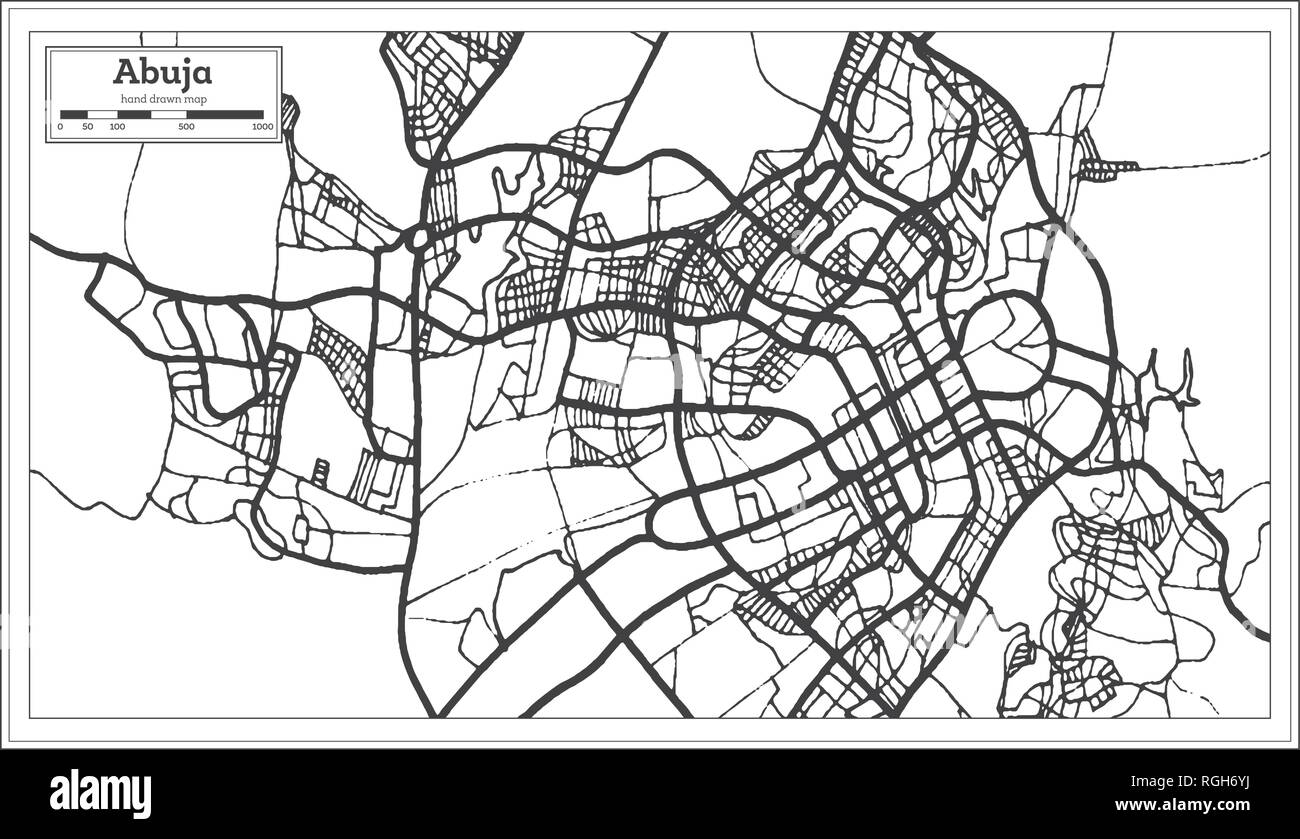 Abuja Nigeria City Map in Retro Style. Outline Map. Vector Illustration. - Stock Vector