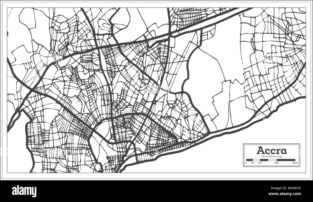 Accra Ghana City Map in Retro Style. Outline Map. Vector Illustration. - Stock Image