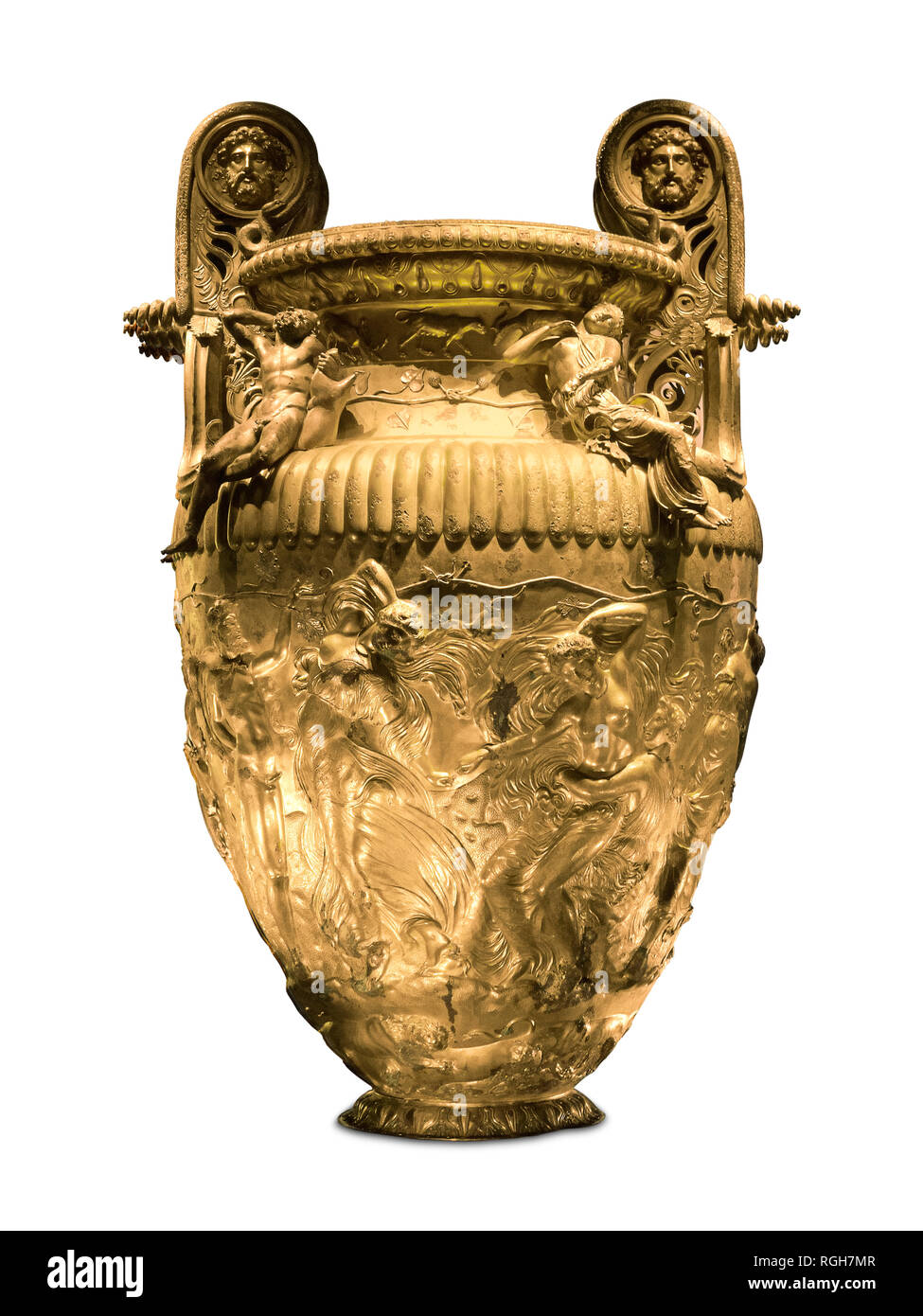 Ancient gold Greek krater - Stock Image