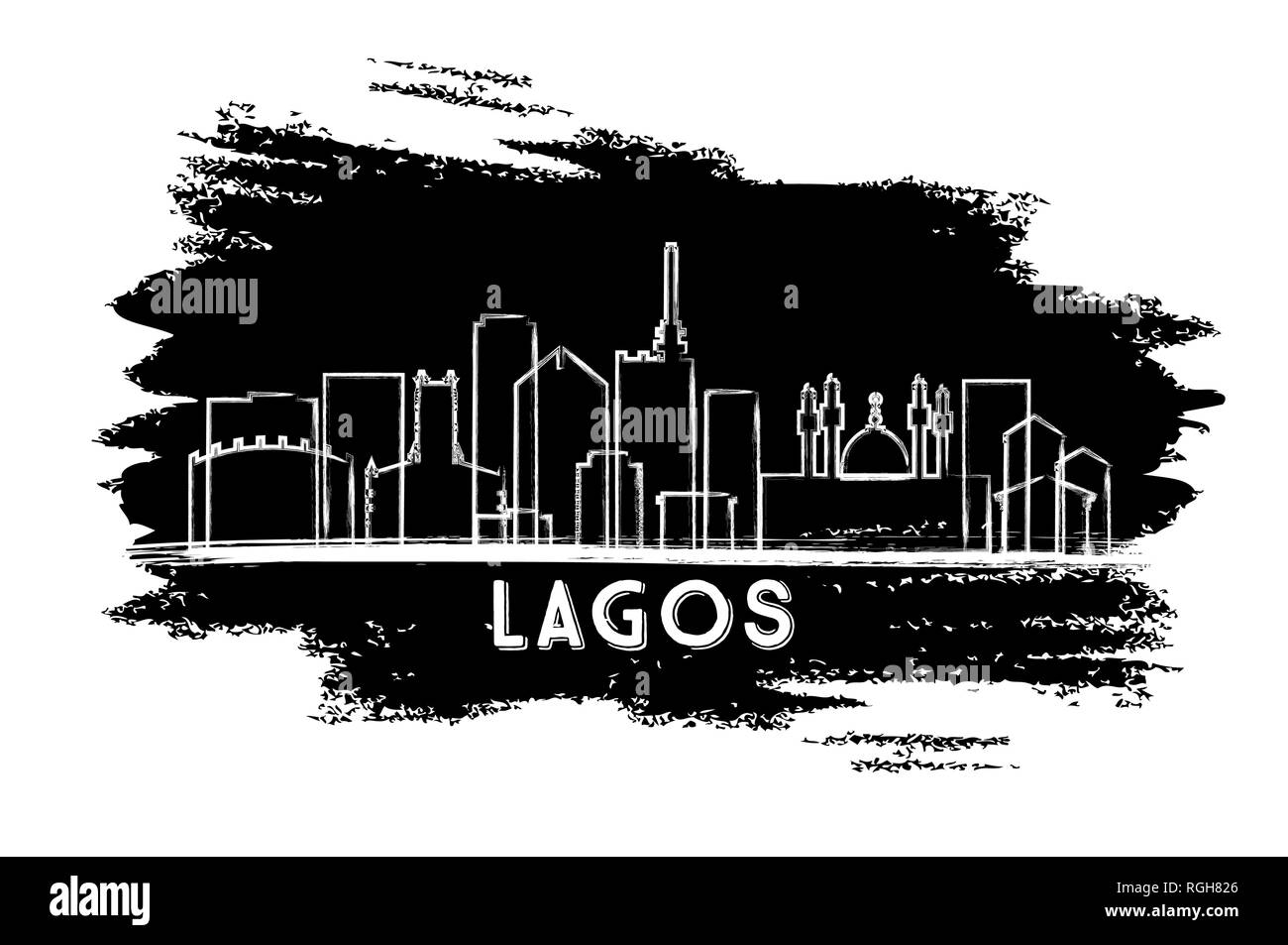 Lagos Nigeria City Skyline Silhouette. Hand Drawn Sketch. Vector Illustration. Business Travel and Tourism Concept with Historic Architecture. - Stock Image