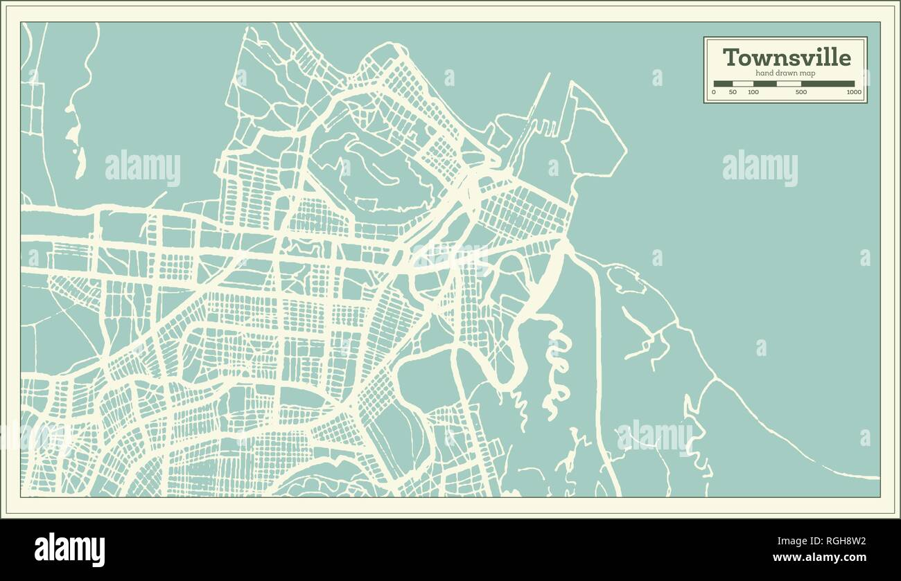 Map Of Australia Townsville.Townsville Australia City Map In Retro Style Outline Map Vector
