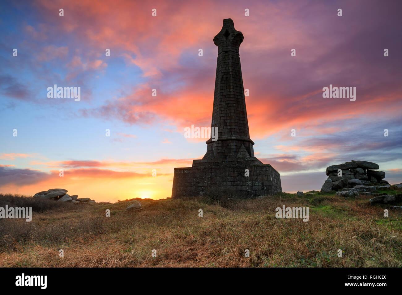 The Bassett Monument on Carn Brea captured at sunrise. - Stock Image