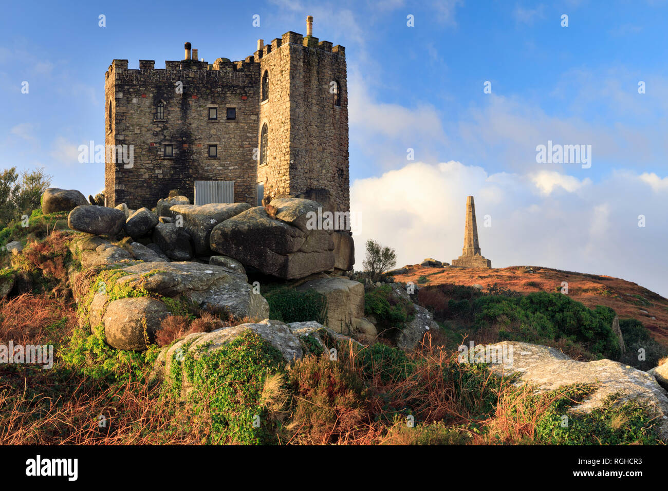 Carn Brea Castle and the Bassett Monument - Stock Image