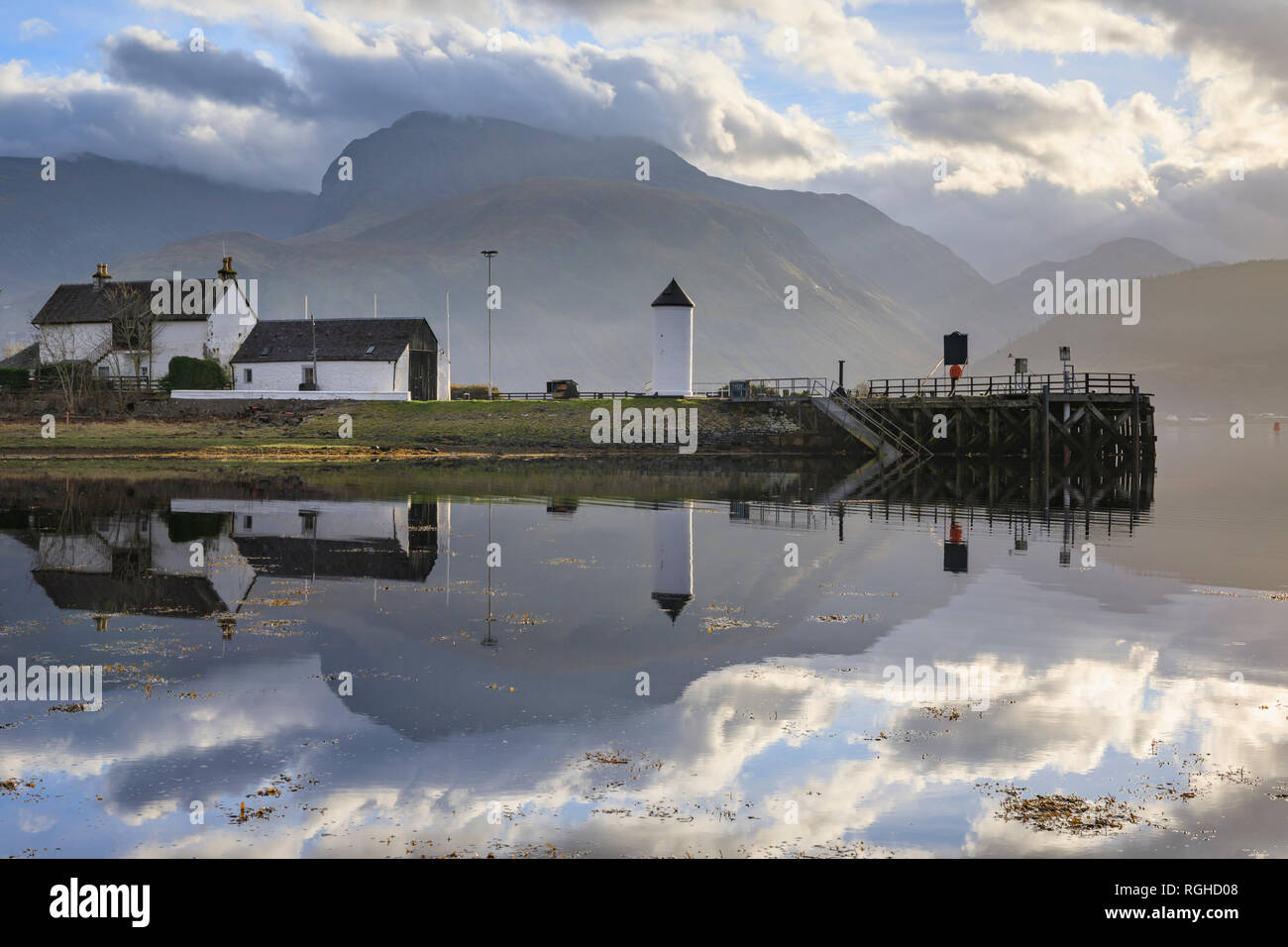 Ben Nevis captured from Corpach in Scotland. - Stock Image