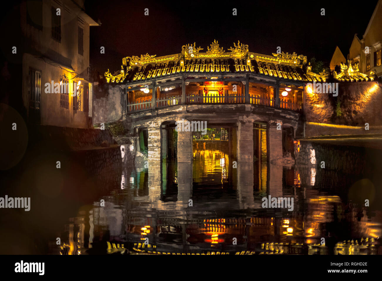Vietnam, Hoi An, Chua Cau, japanese bridge at night - Stock Image