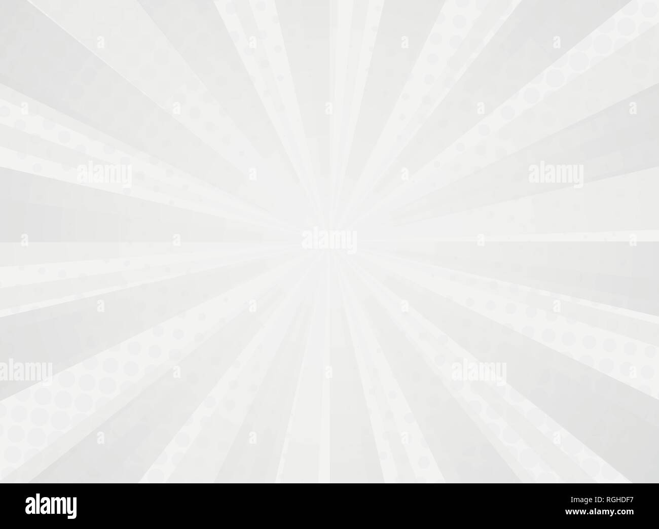 Abstract sunny radiance pattern of comic halftone background of gray. You can use for vivid art work of sun theme. Adjusting for poster, brochure, ad, - Stock Vector
