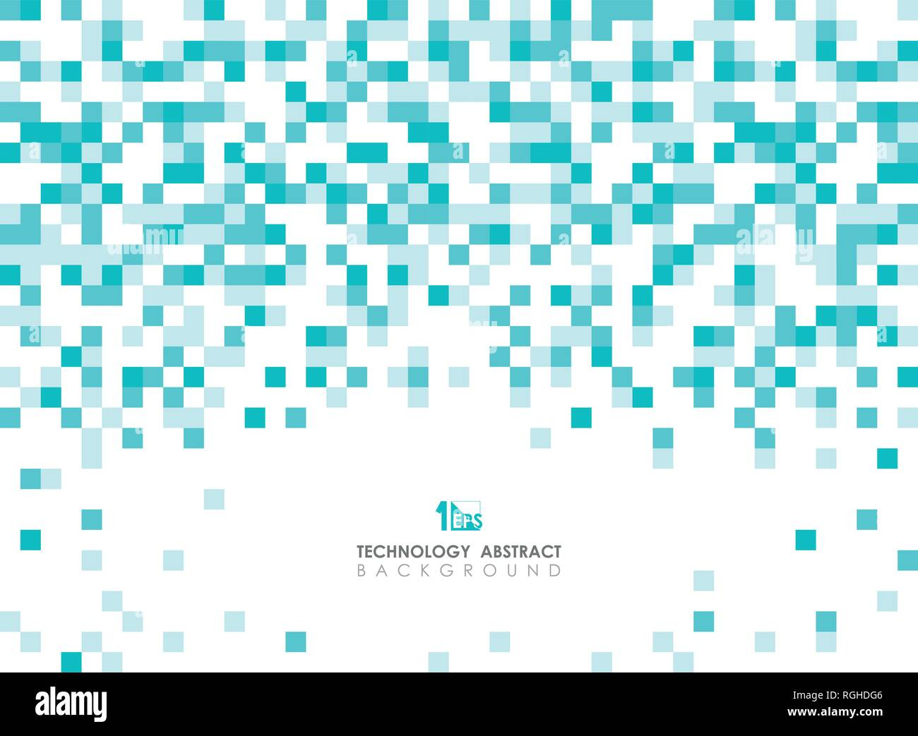Abstract green blue square geometric pattern spreading on top background with copy space. You can use for ad, poster, brochure, web design and annual  - Stock Vector
