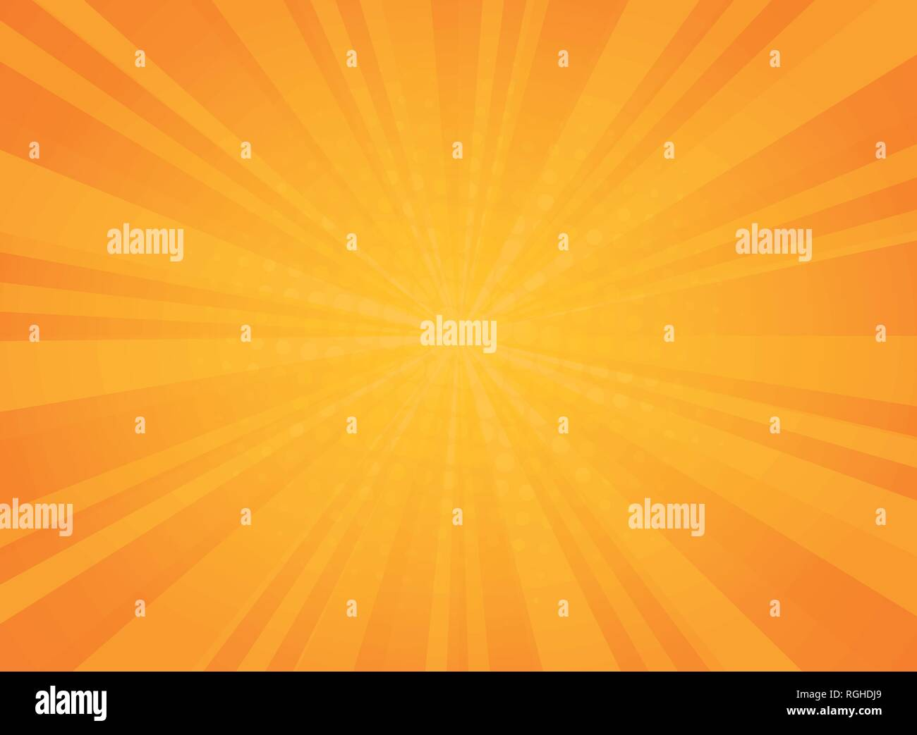 Abstract sunny radiance pattern of comic halftone background in yellow. You can use for vivid art work of sun theme. Adjusting for poster, brochure, a - Stock Vector