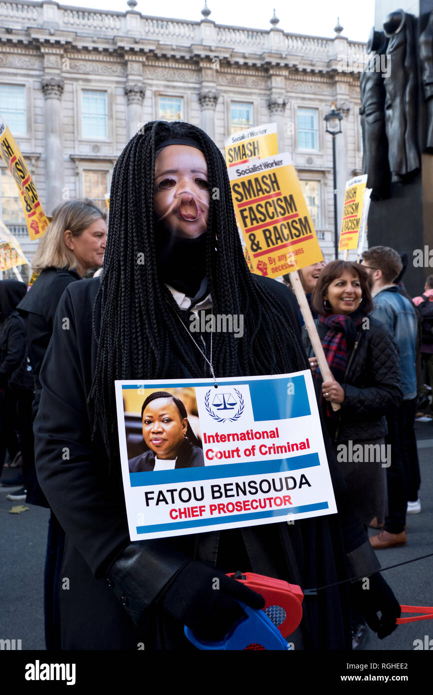 ollowing killing US Saudi journalist Jamal Khashoggi in Turkey, demonstrators came dressed as Saudi officials, including Saudi Crown Prince Mohammad bin Salman, inside a fake prison cell . International Criminal Court Chief Prosecutor Fatou Bensouda, - Stock Image
