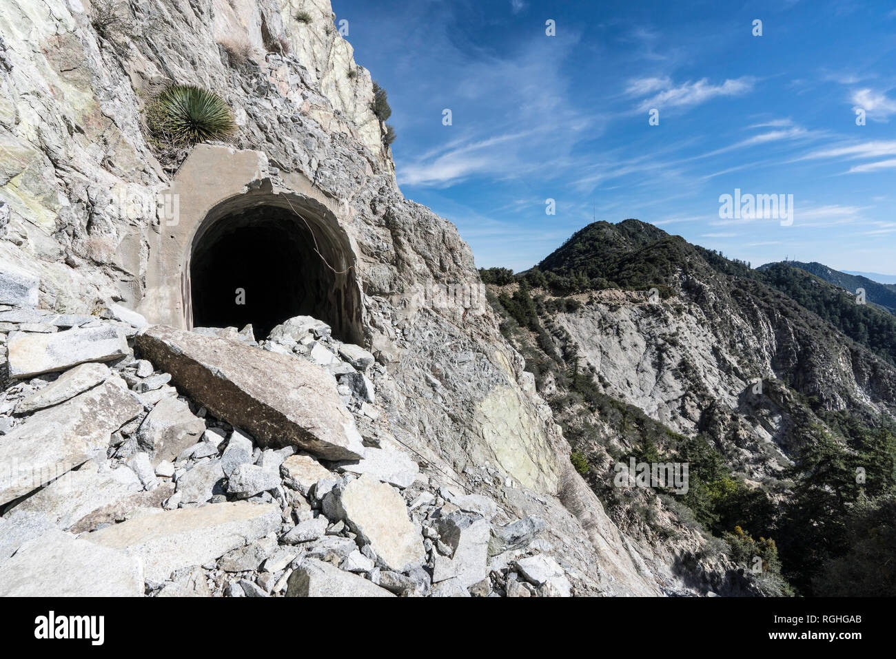 Rock slide damage at historic Mueller Tunnel near Mt Wilson in the San Gabriel Mountains and Angeles National Forest above Los Angeles, California. - Stock Image