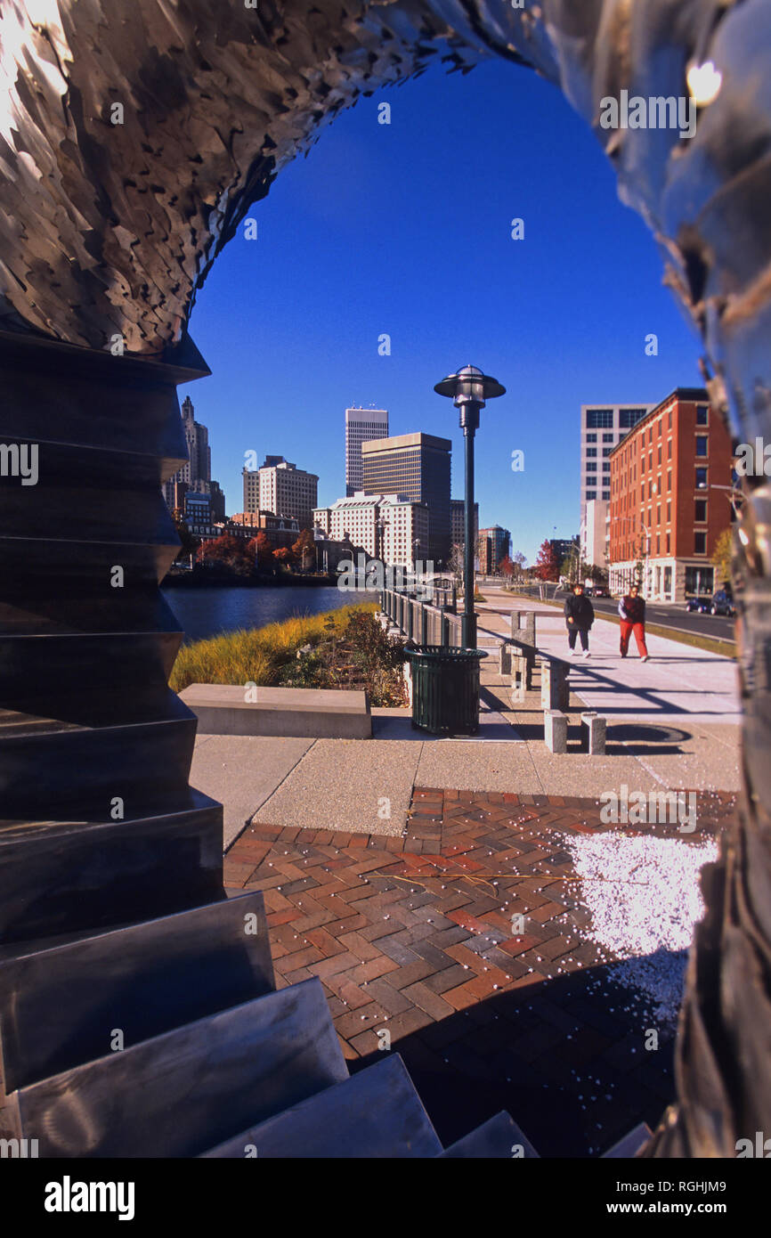 Along the river in downtown Providence, Rhode Island, USA - Stock Image