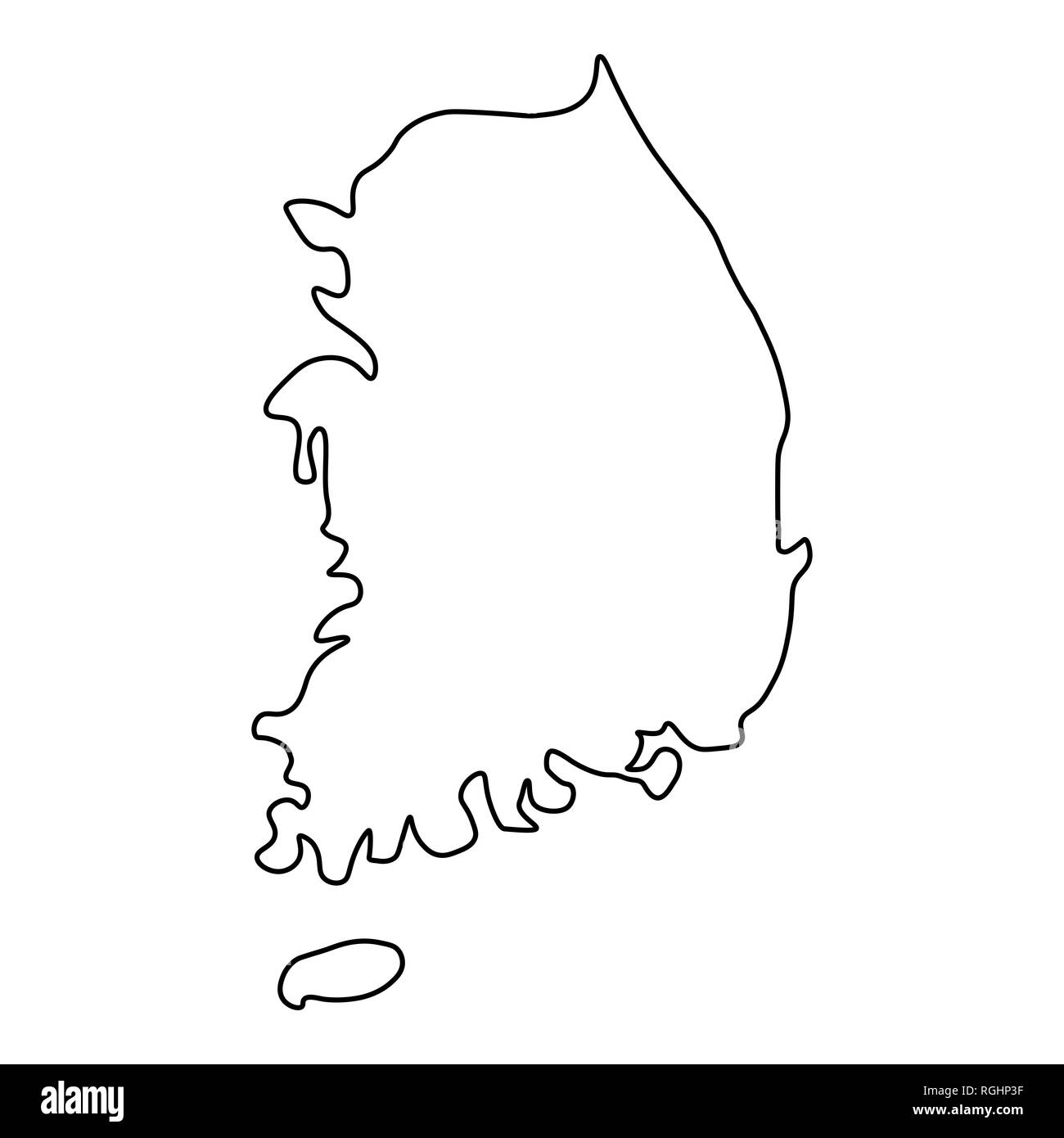 Picture of: Map Of South Korea Outline Silhouette Of South Korea Map Illustration Stock Photo Alamy