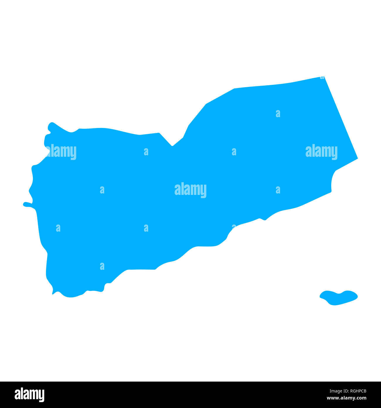 Map of Yemen - outline. Silhouette of Yemen map  illustration - Stock Image