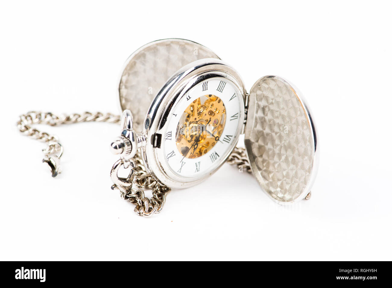 A retro old fashioned antique pocket watch or fob watch, silver metal case, open, showing the time. Isolated on white - Stock Image