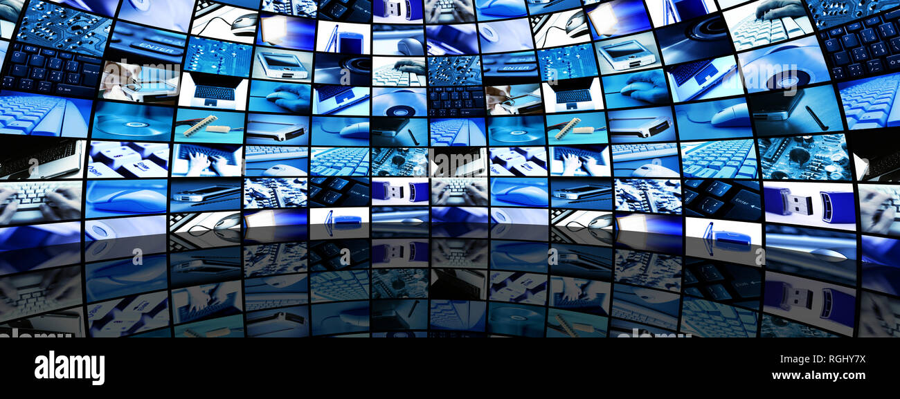 room and many screens with technology themed images - Stock Image