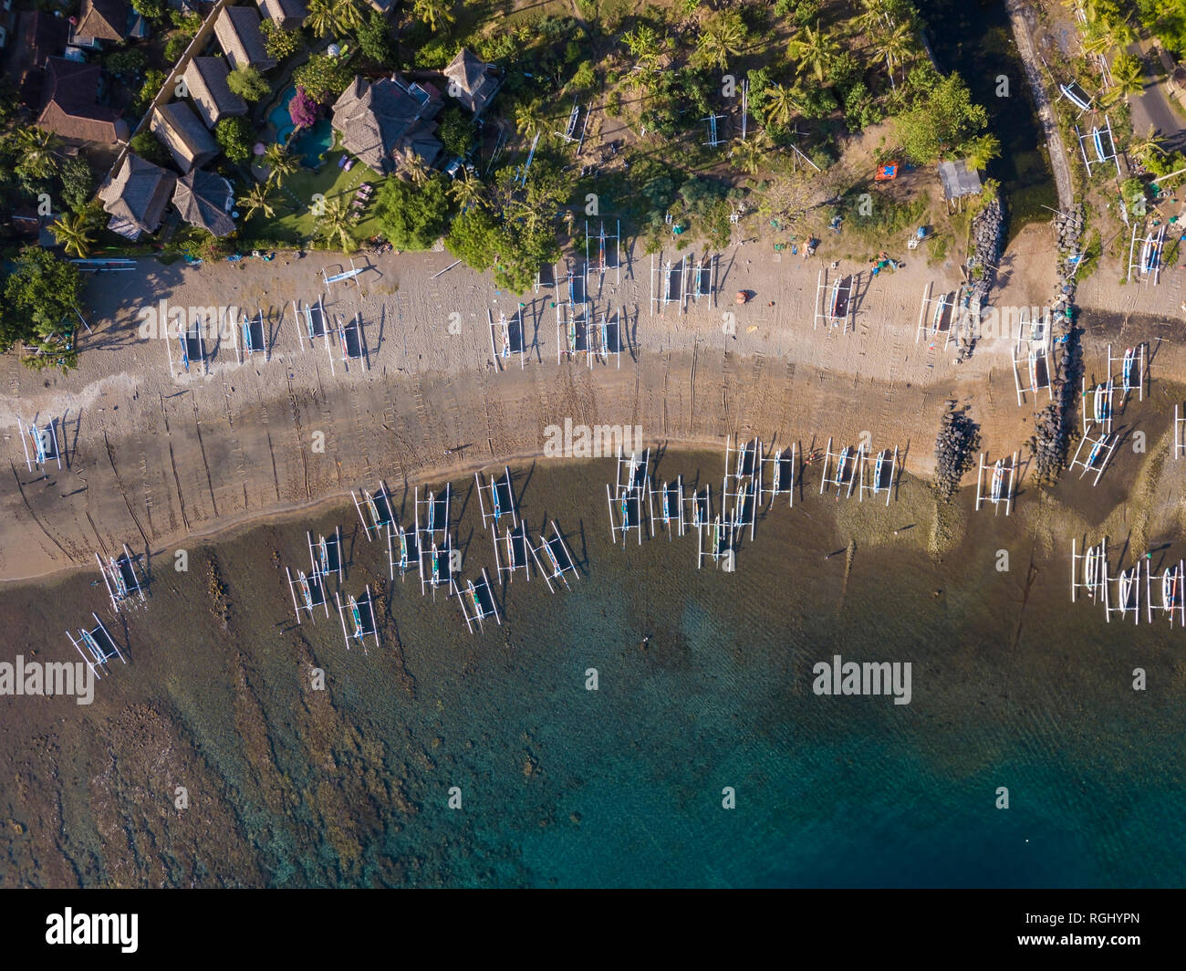 Indonesia, Bali, Amed, Aerial view of Lipah beach - Stock Image