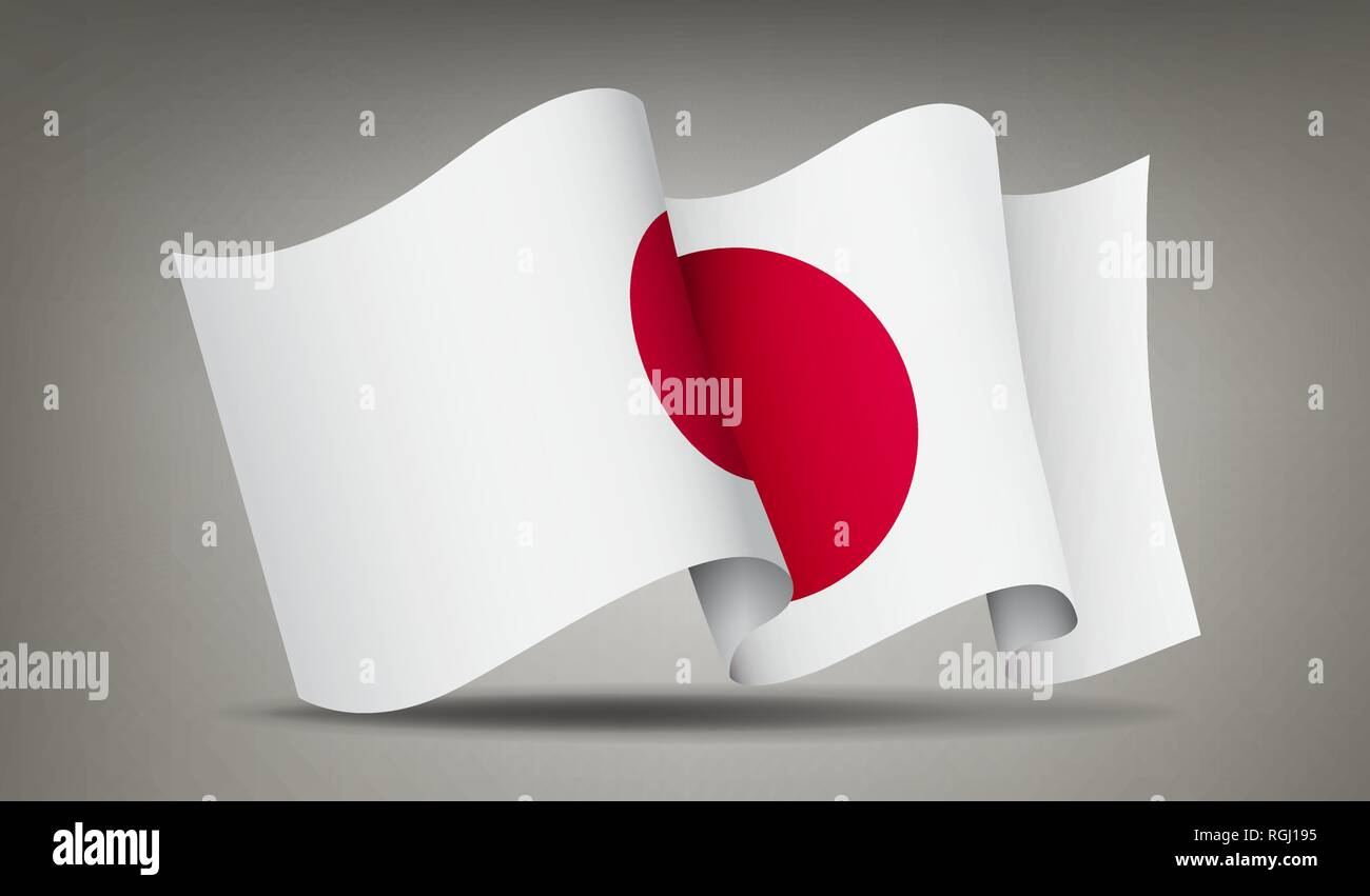 Japan waving flag icon isolated, official symbol of country, red circle on white background, vector illustration. Stock Vector