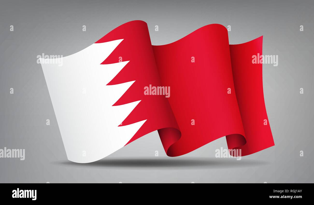 Bahrain red and white waving flag icon isolated, official symbol of