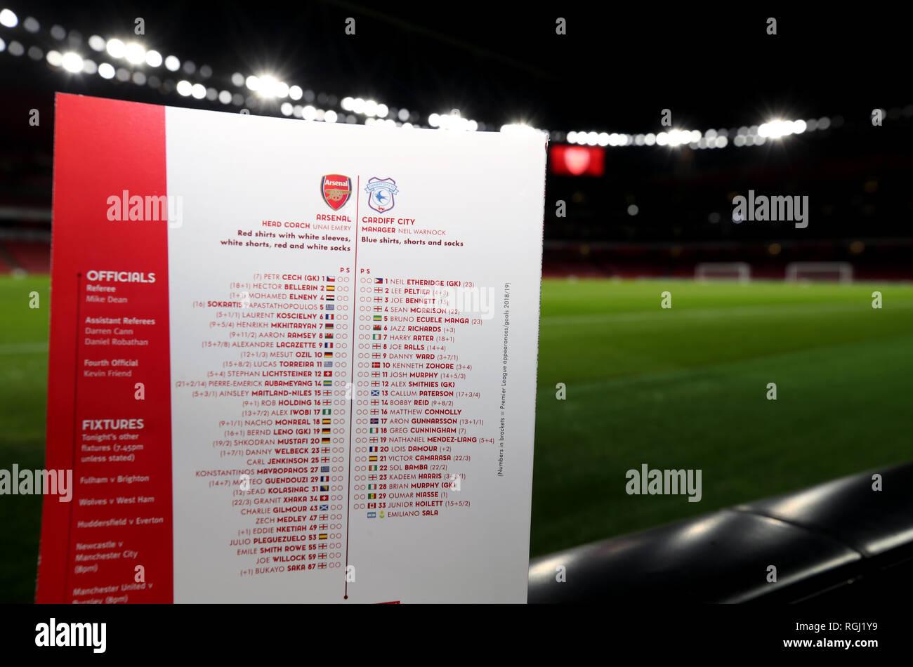 The Match Day Programme For Arsenal V Cardiff Featuring The Squad Lists On The Back And The Name Of Emiliano Sala During The Premier League Match At The Emirates Stadium London Stock