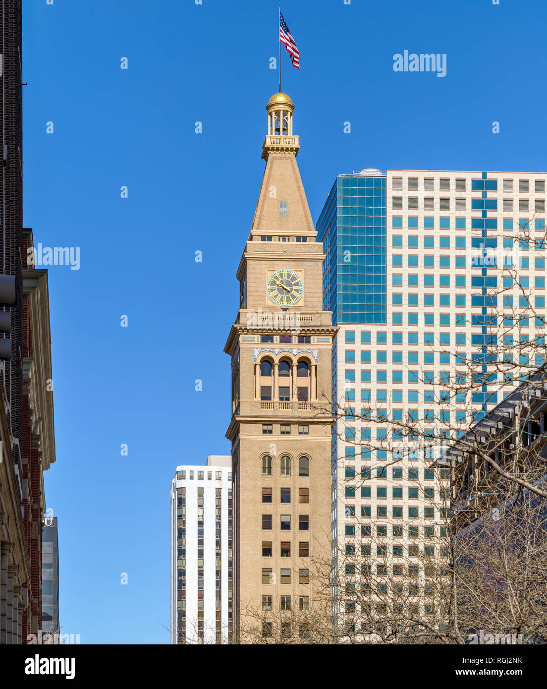 The Daniels and Fisher Tower - A winter day view of Daniels and Fisher Tower, a historic landmark located on 16th street in Downtown Denver, CO, USA. - Stock Image