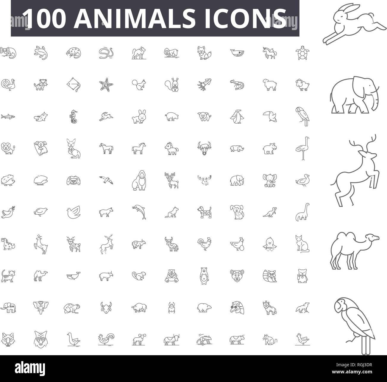 Animals editable line icons, 100 vector set, collection. Animals black outline illustrations, signs, symbols - Stock Image