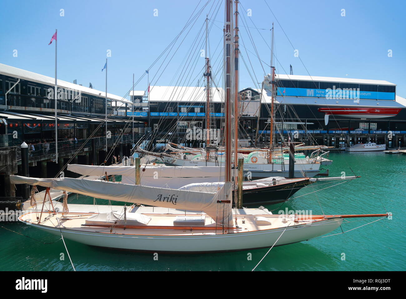 Sailing boats moored in Auckland harbour, New Zealand - Stock Image