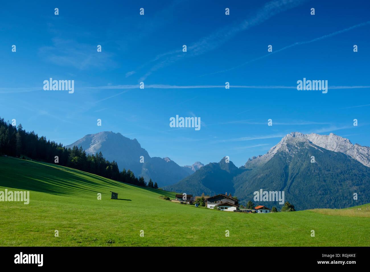 Germany, Bavaria, Berchtesgadener Land, Berchtesgaden Alps, Hochschwarzeck near Ramsau, Watzmann and Hochkalter in the background Stock Photo
