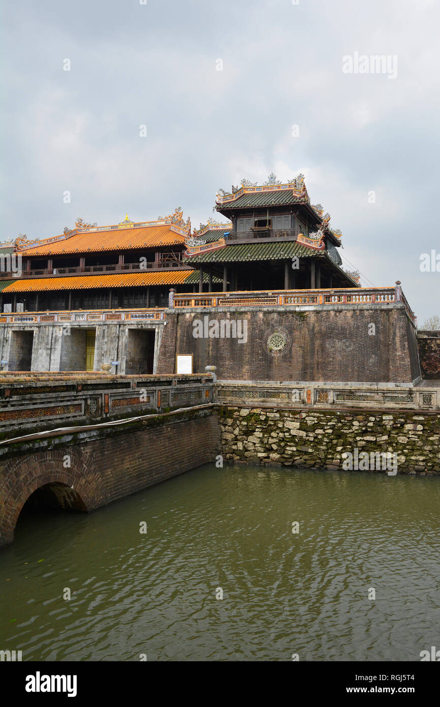 Noon Gate, one of the entrances to the Imperial City in Hue, Vietnam - Stock Image