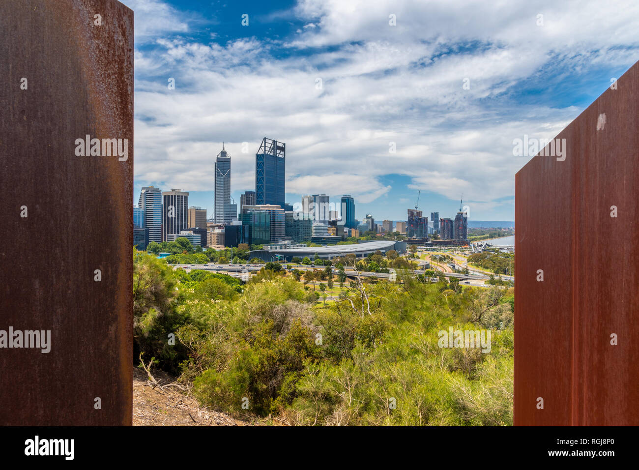 The Bali Memorial view from Kingspark to Perth Downtown in Australia Stock Photo