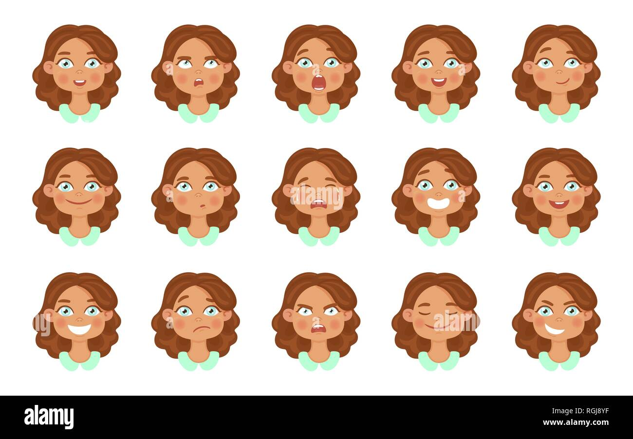 Set of cute girl avatar expressions face emotions. - Stock Image