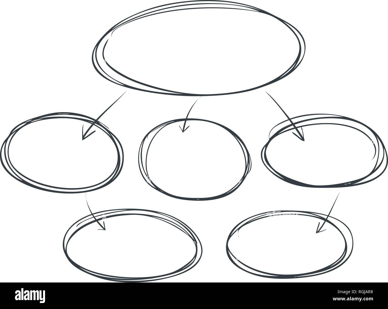 Business flowchart, infographic. Graphical diagram, scheme, chart. Template for presentation, sketch vector illustration - Stock Image