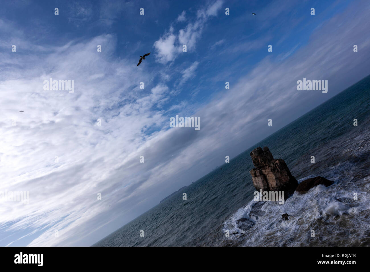 Nau dos Corvos, (Carrack of Crows) at Cabo Carvoeiro, with Berlengas in the background, Peniche peninsula, Portugal - Stock Image