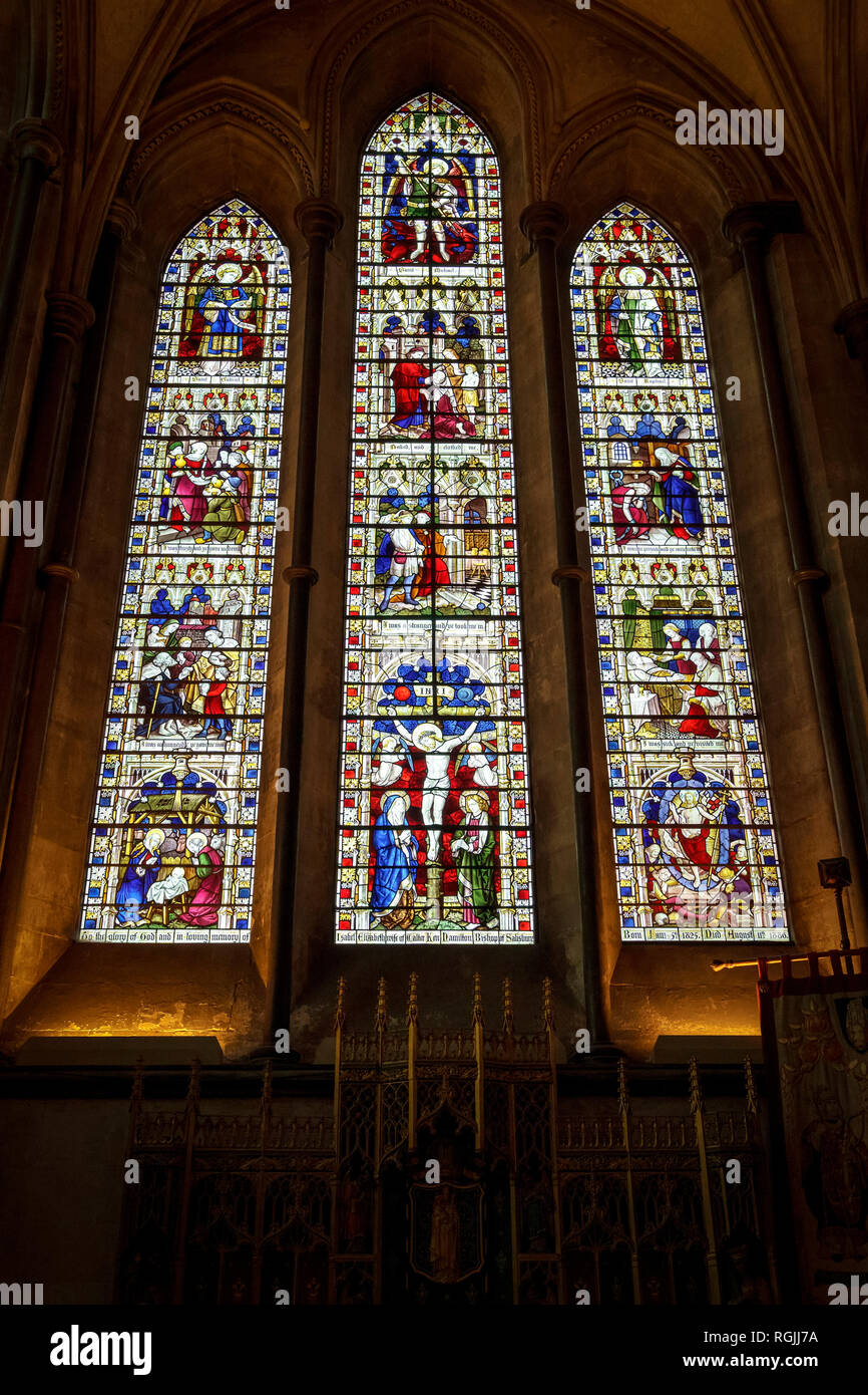 Stained glass windows in Salisbury Cathedral UK - Stock Image
