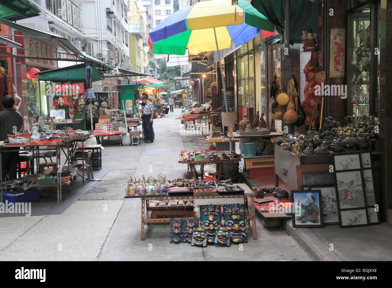 Cat Street Antiques Market, Upper Lascar Row, Sheung Wan, Hong Kong Island, Hong Kong, China, Asia Stock Photo