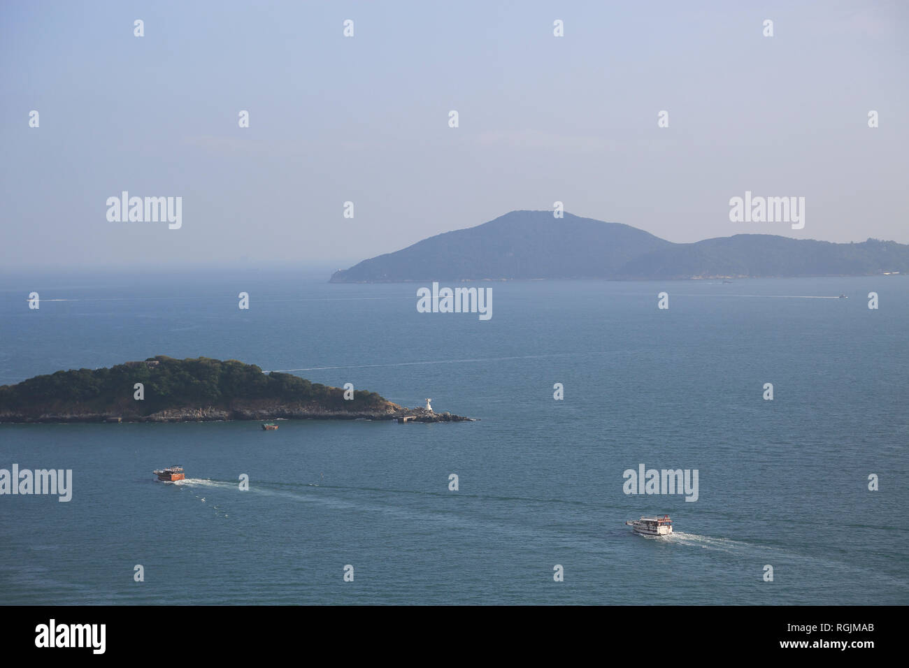 View of Outlying Islands, South China Sea from Pok Fu Lam, Hong Kong Island, Hong Kong, China, Asia - Stock Image