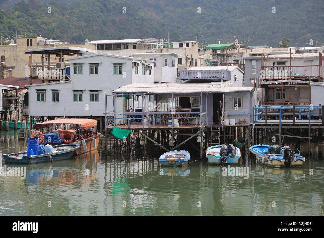 Stilt Houses, Canal, Tai O Fishing Village, Lantau Island, Hong Kong, China, Asia - Stock Image