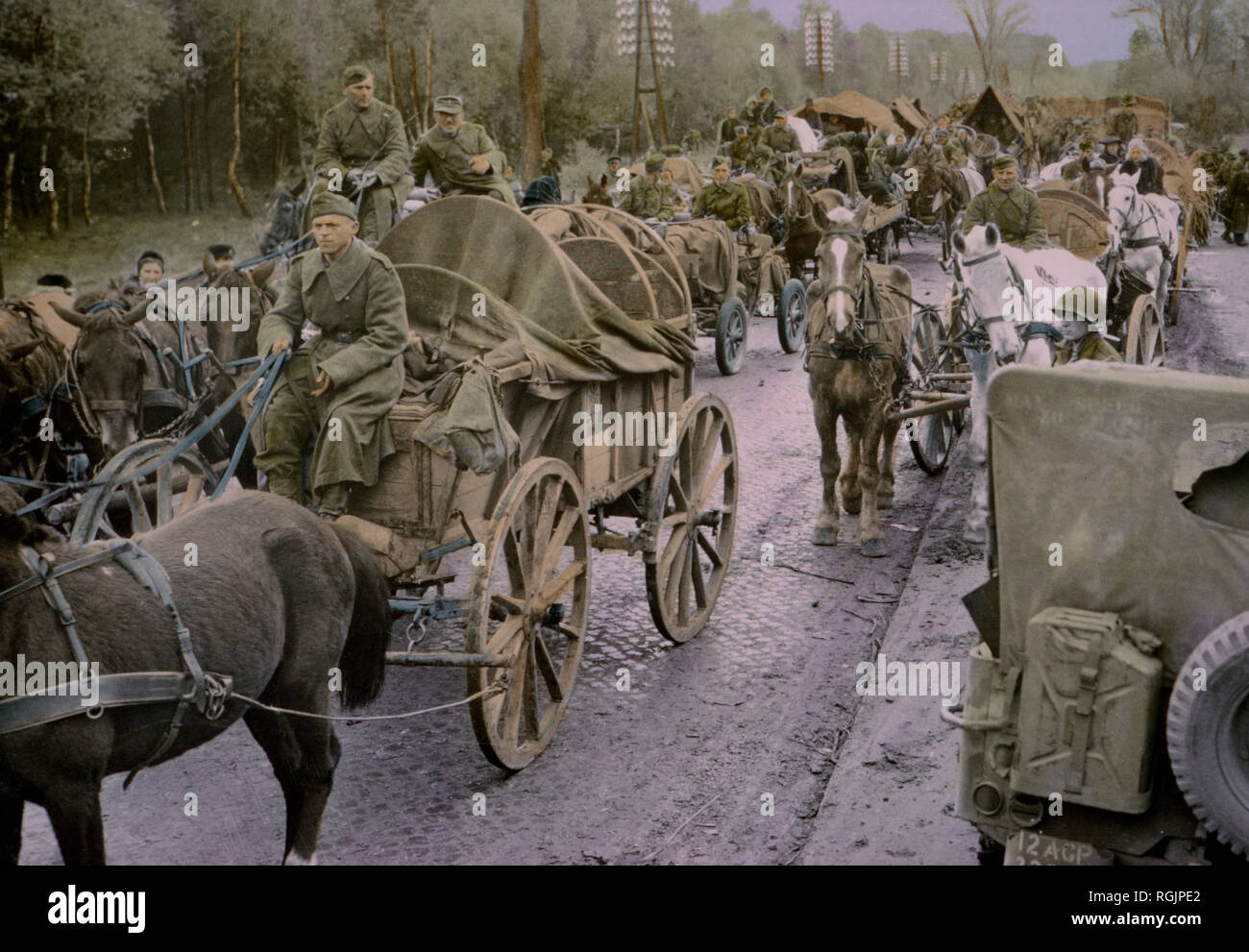 German Soldiers Riding in Carts and Wagons, Central Europe Campaign, Western Allied Invasion of Germany, 1945 Stock Photo
