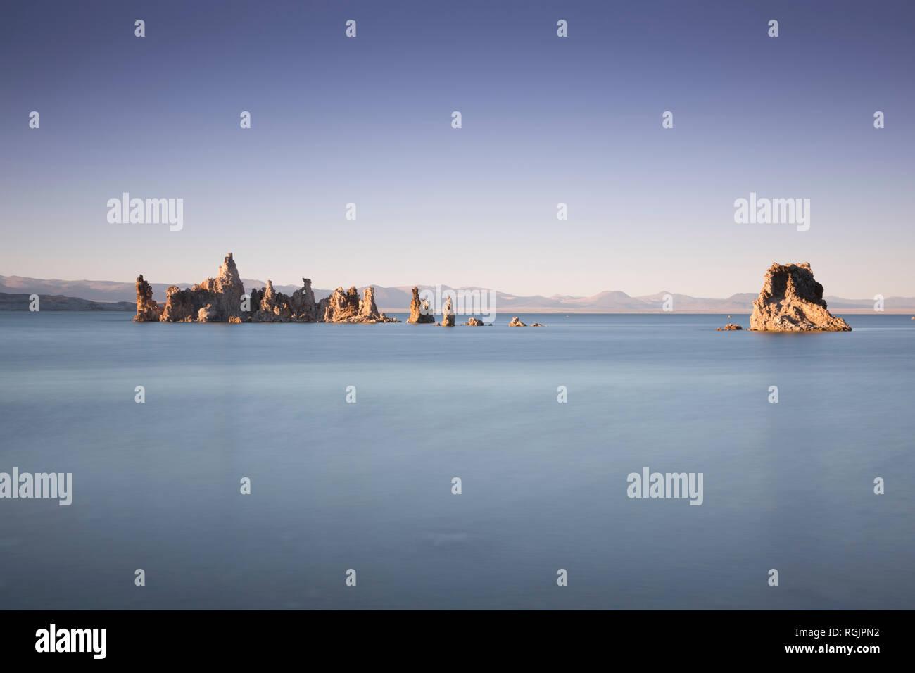 USA, California, Lee Vining, South Tufa Area, Mono Lake, rock formations in the evening Stock Photo