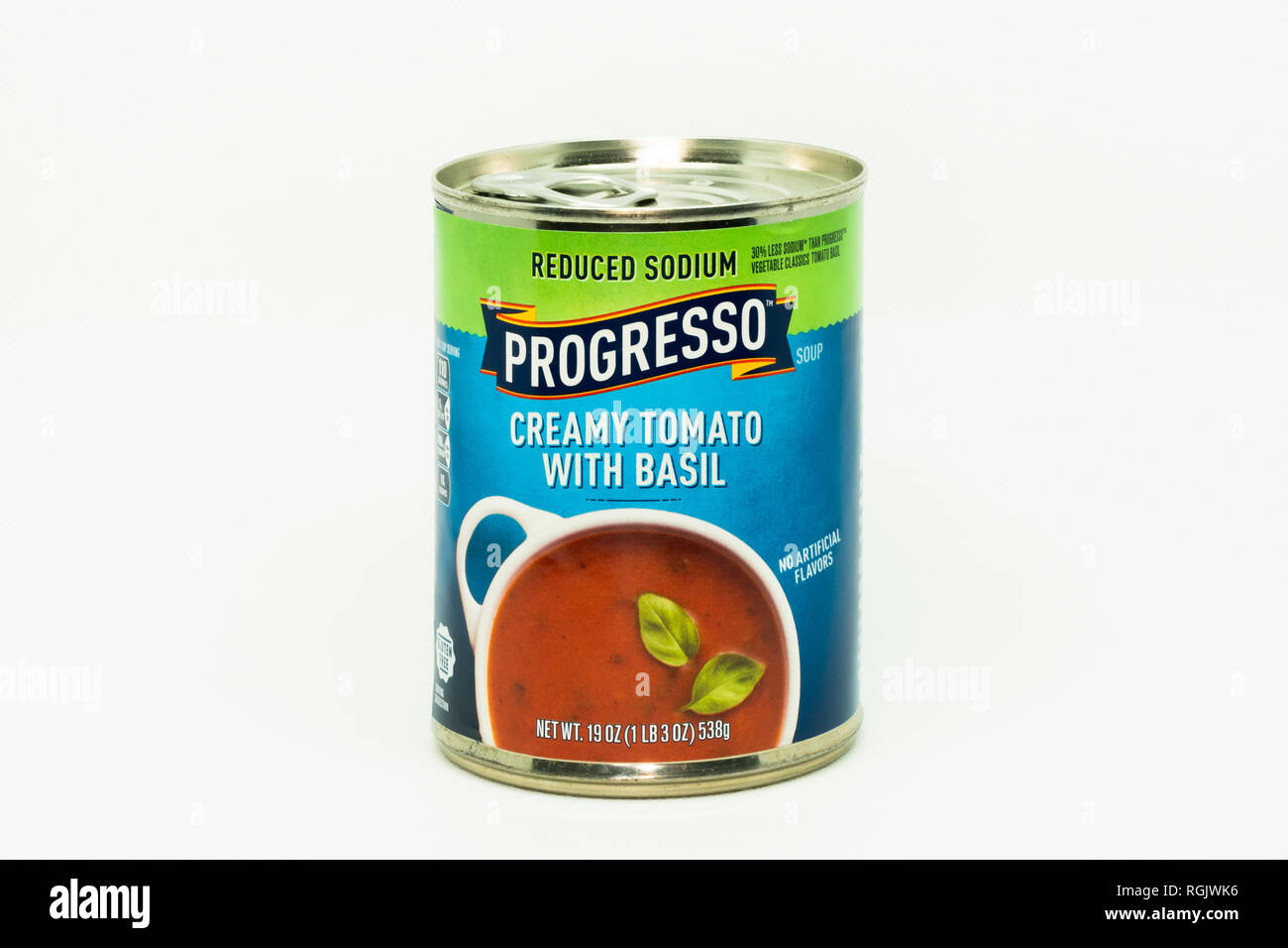 ST. PAUL, MN/USA - JANUARY 27, 2019: Progresso Tomato Basil soup and trademark logo. - Stock Image