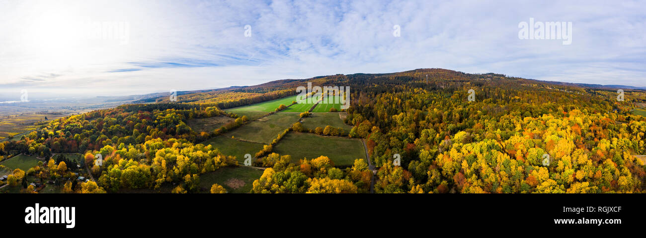 Germany, Hesse, Oestrich-Winkel, Rheingau, Aerial view in autumn Stock Photo