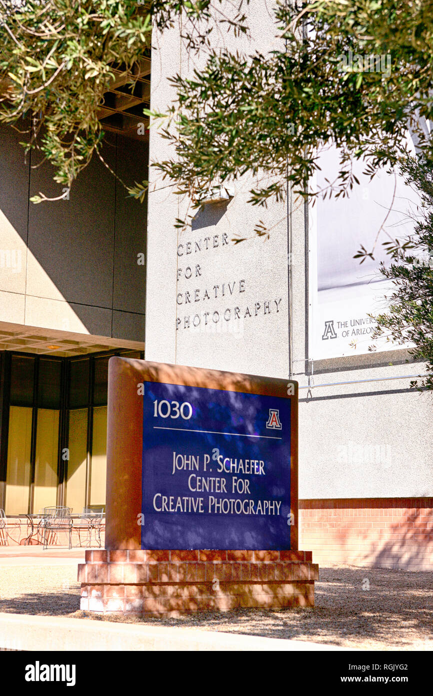 Outside the John P Schaefer Center For Creative Photography on the University of Arizona Campus in Tucson AZ - Stock Image