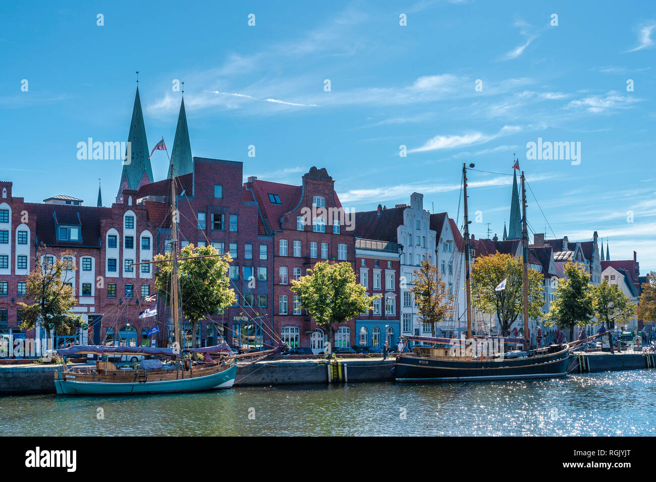 Germany, Schleswig-Holstein, Luebeck, Trave, Lower Trave river, Sailing ships - Stock Image