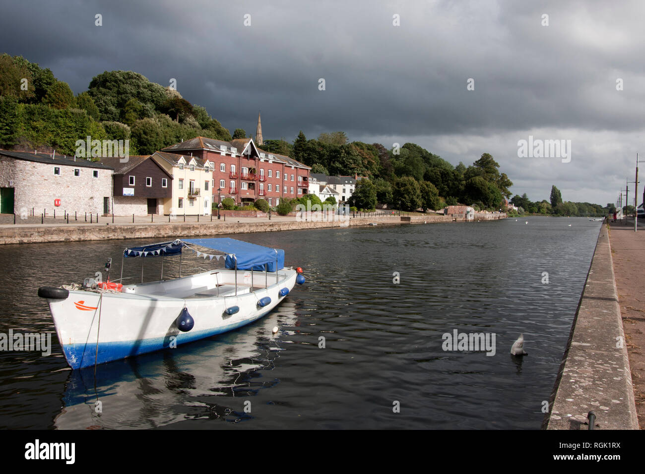 Exeter Quay and the Southern Comfort tour boat, River Exe, Exeter, Devon - Stock Image