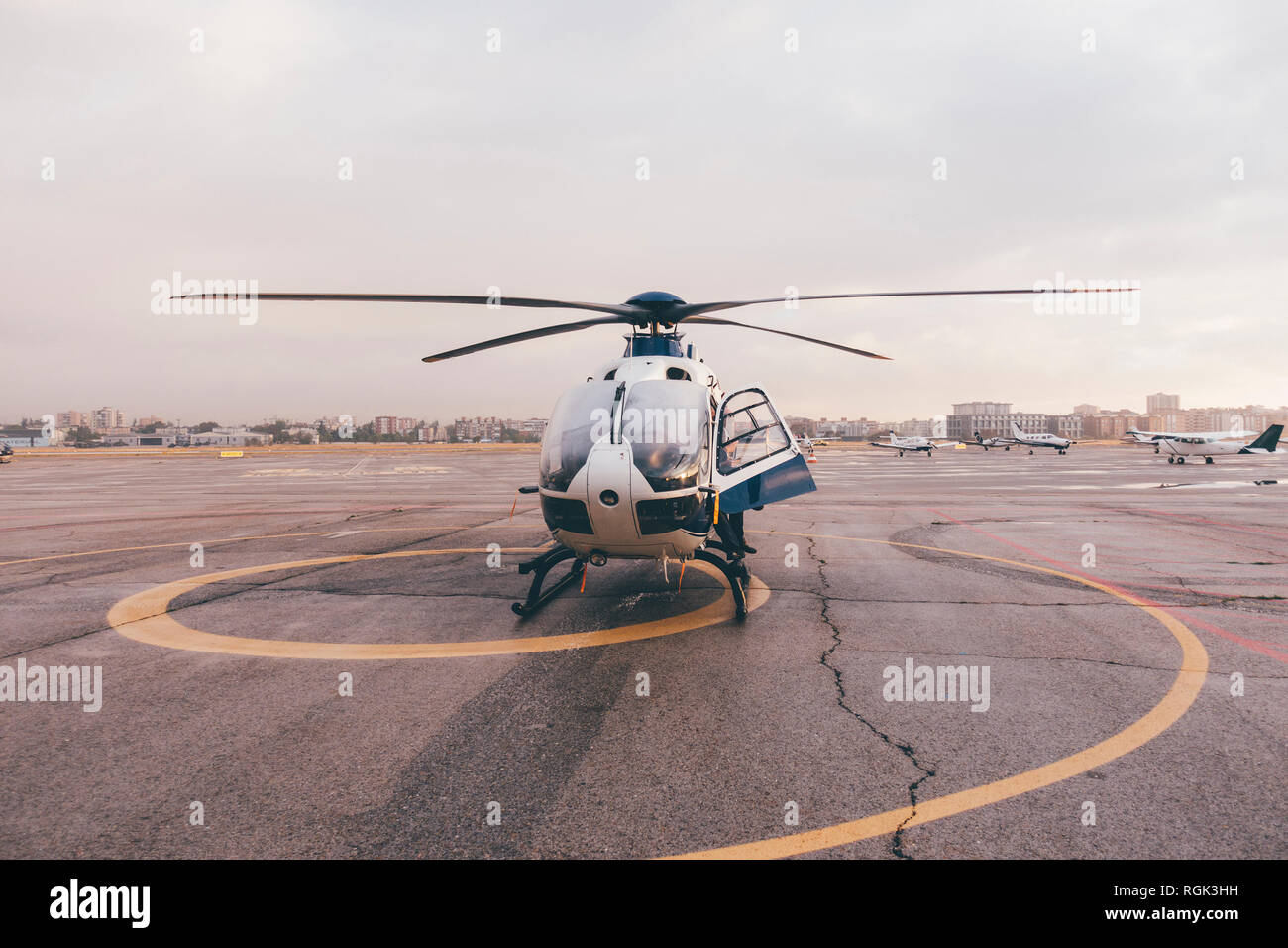 Helicopter on air field Stock Photo