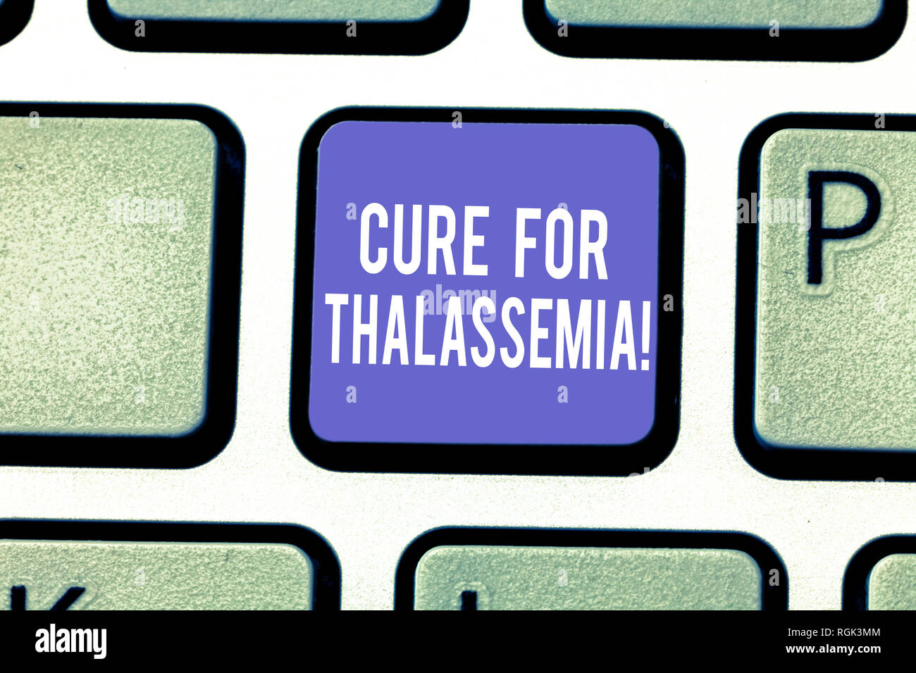 Word writing text Cure For Thalassemia. Business concept for Treatment needed for this inherited blood disorder Keyboard key Intention to create compu - Stock Image