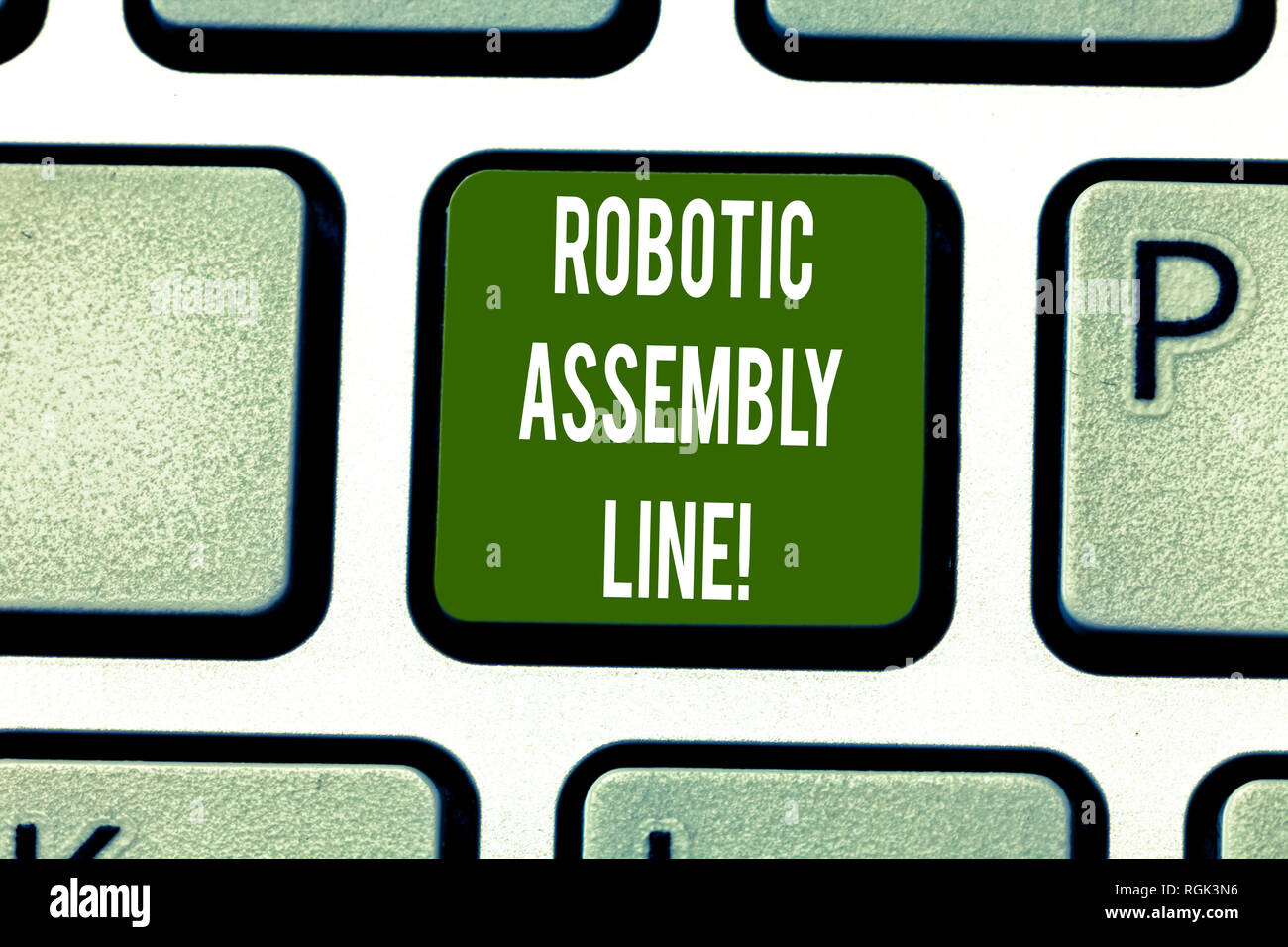 Text sign showing Robotic Assembly Line. Conceptual photo use to increase production speed and consistency Keyboard key Intention to create computer m - Stock Image