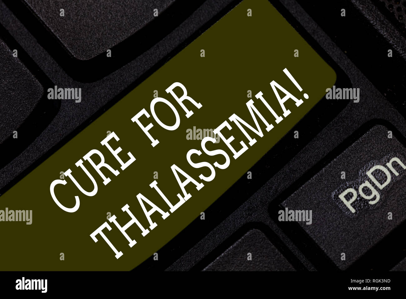 Writing note showing Cure For Thalassemia. Business photo showcasing Treatment needed for this inherited blood disorder Keyboard key Intention to crea - Stock Image