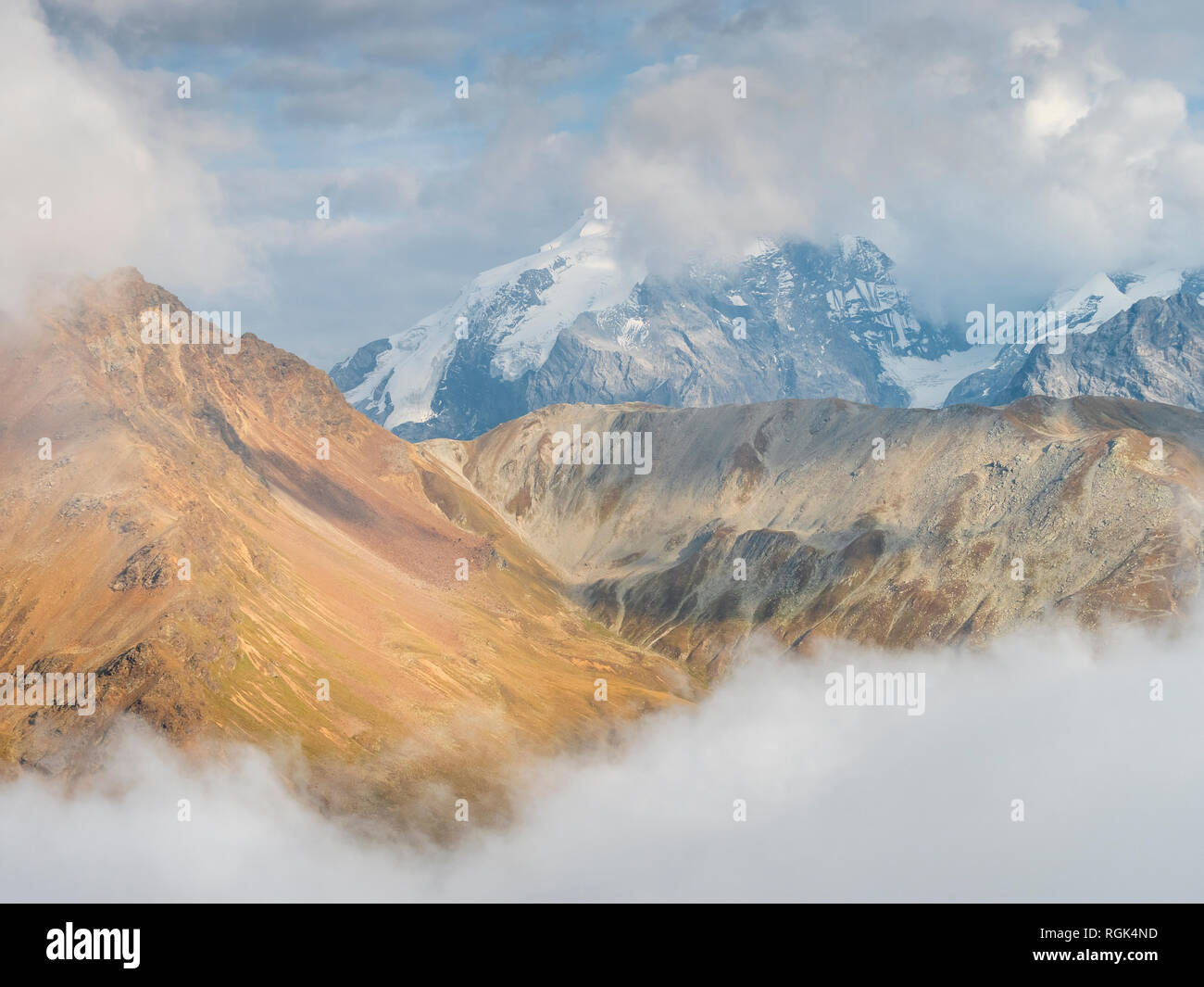 Border region Italy Switzerland, mountain landscape with snowcapped Ortler Stock Photo