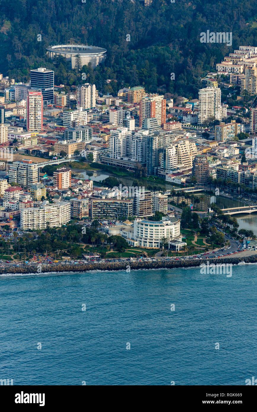 Aerial View over Viña Del Mar, Chile - Stock Image