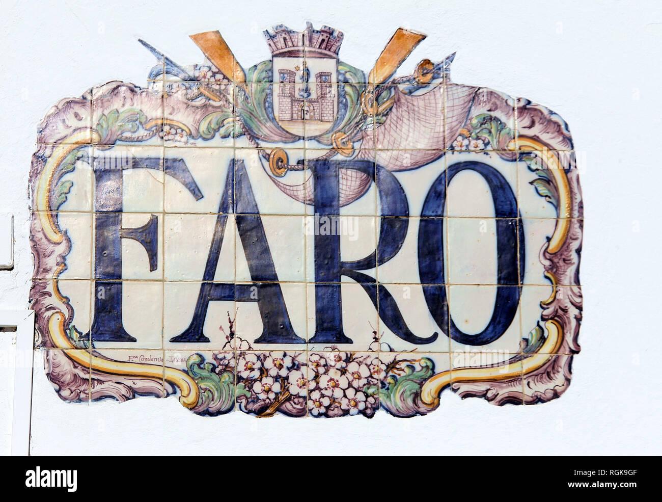 Azulejos at Faro Railway Station - Stock Image